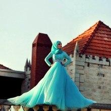 Robe De Soiree Aqua Arabic Muslim Evening Dress Top Lace Crystal Belt Court Train Wedding Gowns Hijab Evening Dresses Aramex