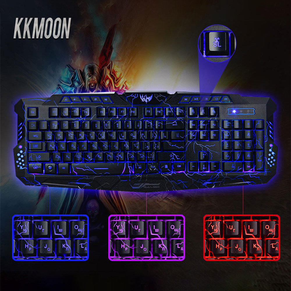 Bilingual Russian English Gaming Keyboards 3 Backlight Modes Russia Version Fire Cracks Keyboard USB Powered for Gameing Lovers