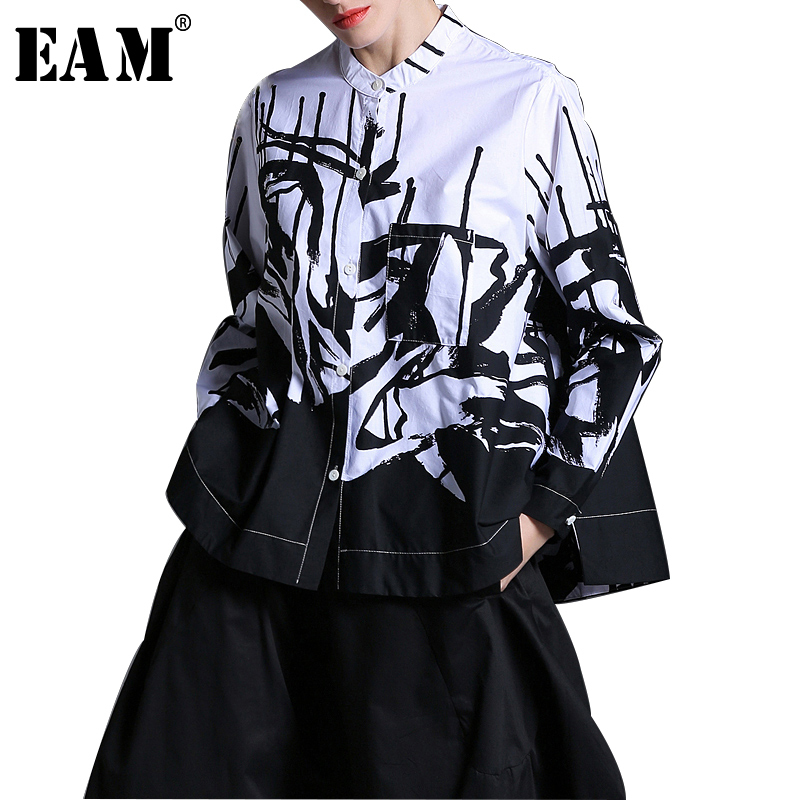 [EAM] 2018 New Autumn Lapel Long Sleeve White Printed One Pocket Loose Big Size Shirt Women Blouse Fashion Tide JE63301