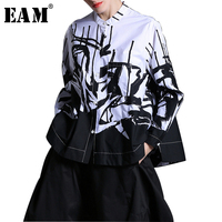 EAM 2018 New Spring Lapel Long Sleeve White Printed One Pocket Loose Big Size Shirt