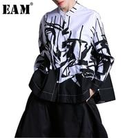 EAM 2018 New Spring Lapel Long Sleeve White Printed One Pocket Loose Big Size Shirt