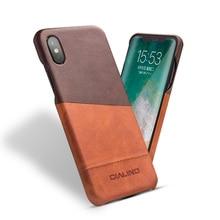 Qialino حقيقية الجلود غطاء الهاتف ل فون x الأزياء الفاخرة سامسونج نقي اليدوية لعودة فون x ل 5.8 بوصة