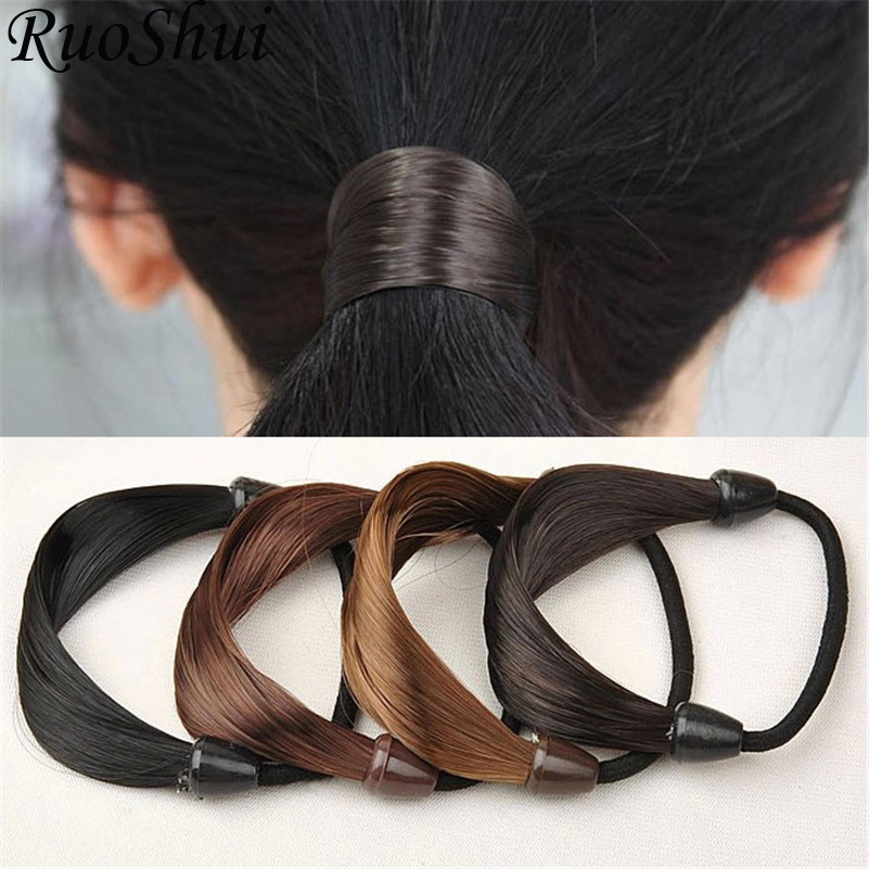 Fashion Women Straight Wig Elastic Hair Bands Black Brwon Hair Rope Scrunchie Ponytail Holder Hair Accessories For Women Girls