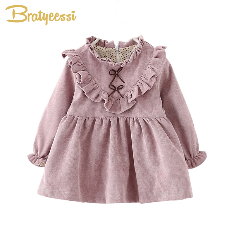 Dress Spring Baby-Girl Long-Sleeve Infantil Ruffles New Corduroy Autumn Solid Vestido title=