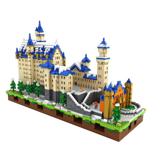 LOZ 9049 Diamond Blocks Neuschwanstein DIY Building Toys Swan Stone Castle World Building Educational Blocks for Children Gifts mr froger loz diamond block easter island world famous architecture diy plastic building bricks educational toys for children
