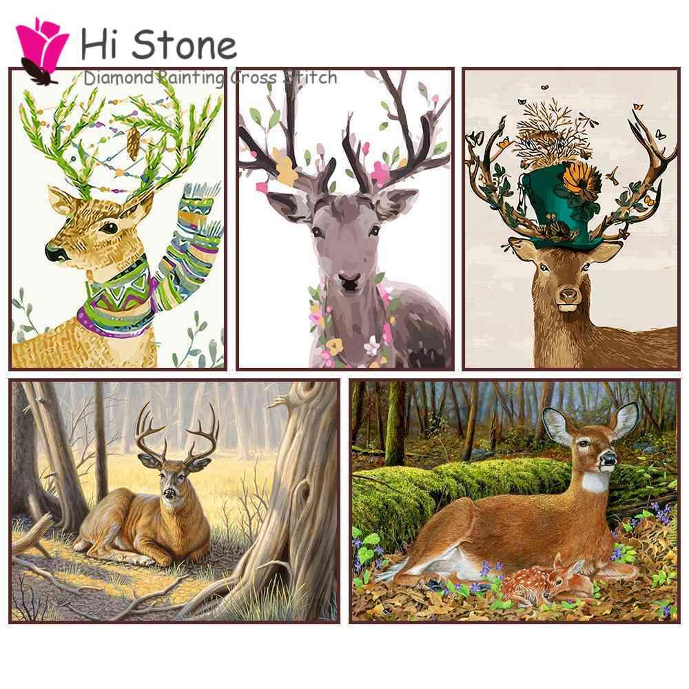diamond painting,deer,5d,full,square,diamond embroidery,rhinestone moasic,animals,forest,home decor