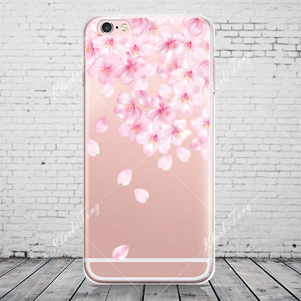 best service 32731 c619c US $1.91 10% OFF|Beautiful Floral Cherry Blossom Case Cover For iphone XS  MAX XR 7 8 6S Plus 5s SE Transparent Silicone Cell Phone Cases-in Fitted ...