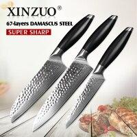 3 Pcs Kitchen Knives Set 73 Layer Damascus Kitchen Knife Japanese VG10 Cleaver Chef Utility Knife