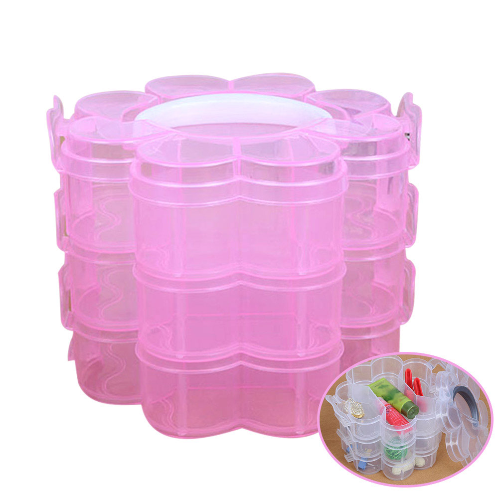 High Quality 3 Layers Detachable DIY Plastic Storage Box Desktop Jewelry Organizer Holder Cabinet well