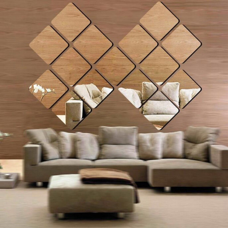 Gold Silver 3 Size 3d Square Mirror Wall Sticker Removable