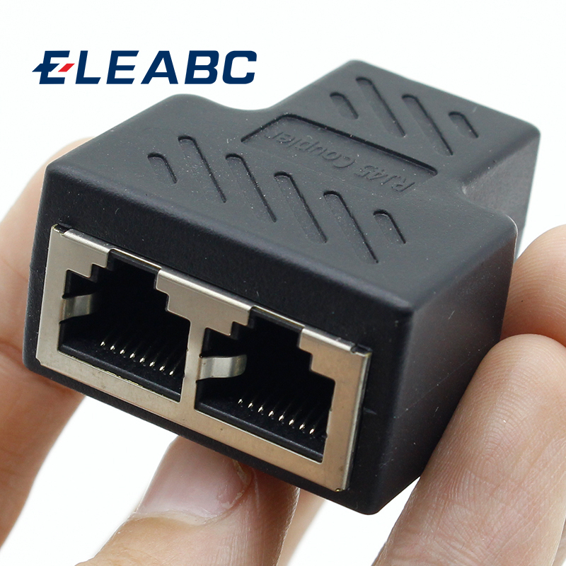 1pcs 1 To 2 Ways RJ45 LAN Ethernet Network Cable Female Splitter Connector Adapter
