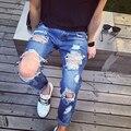 Мода 2016 новый ripped узкие джинсы мужские личность рок стиль джинсовые брюки тонкие узкие брюки мужские проблемных джинсы разорвал