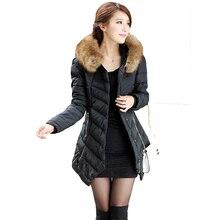 2016 мода Зима Парки новые прибытия большой меховой воротник полный рукав чистый цвет тонкий длинный Пуховик плюс размер XXXL женщин пальто 6004