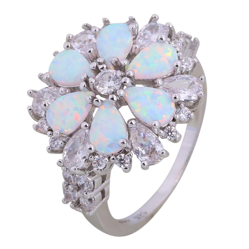 Cincin perkahwinan fesyen cincin zirkonia padu putih untuk wanita putih kebakaran opal 925 sterling perak saiz 5.5 6 7 8 9 10 R248