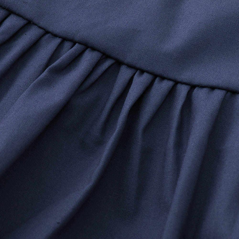 LONSANT אופנה קיץ יילוד תינוקות תינוק בנות Romper ראפלס שרוול ללא משענת כהה כחול ללא שרוולים סרבל תלבושות בד