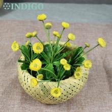 INDIGO (5pcs Dandelion+1 basket/set ) Bonsai Yellow Artificial Succulent Plant Plastic Flower Table DecorationFree Shipping