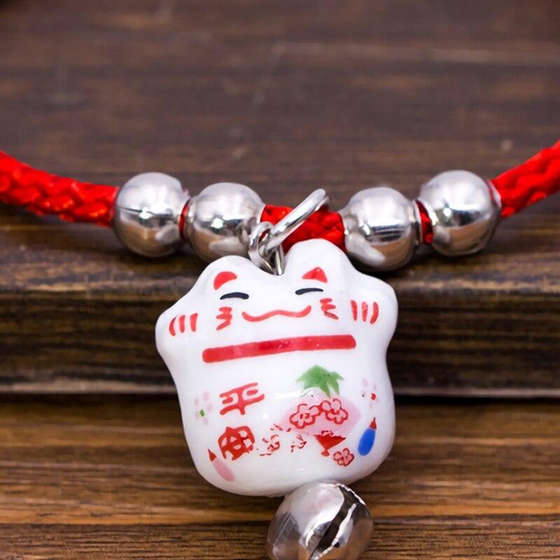 2017 Симпатичные Lucky Cat Керамика Бусины безопасный браслет красный канат браслет ручной работы Модные украшения регулируемая Длина