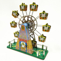 BEIOUFENG Music Ferris Wheel Vintage Clockwork Toys for Children/Adults Gifts,Handmade Tin Toy Rotate Ferris Wheel with Music