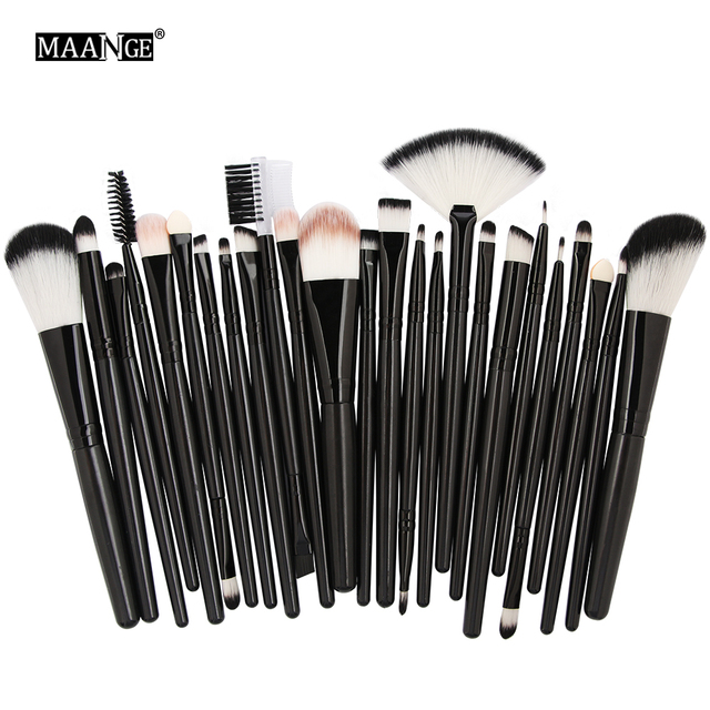 MAANGE25pcs Makeup Brushes Beauty Tool Set Foundation Blending Blush EyeShadow Brow Lash Fan Lip Face MakeUp Concealer Brush Kit 6