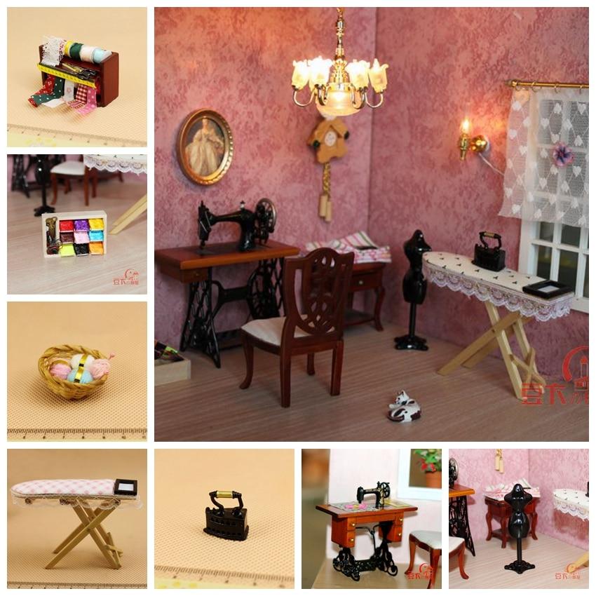 Dollhouse sewing furniture display Dollhouse Miniature Filled sewing table Miniature shop display fashion. 1.12 table for haberdashery
