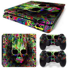 Skull Vinyl Decal PS4 Slim Skin Sticker For Playstation 4 Slim Console & 2 Controllers PS 4 S Accessories