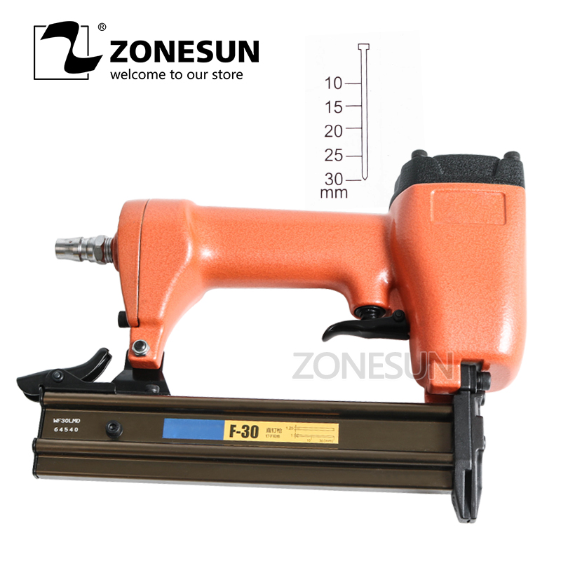 ZONESUN ZS-30 Air Straight Nail Pin Gun Pneumatic Micro Pinner Nailer Brad For Furniture Wood Sofa Woodworking Stapler 10-30mm dongcheng ff t50dc nail gun air brad nailer 25 50mm straight nail 1 4mm diameter stapler 4 8 bar gun 8mm pipe