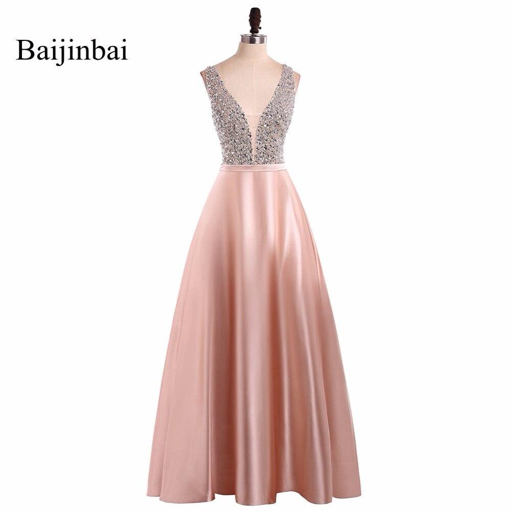 Baijinbai Новый Модный V образным вырезом без рукавов Выпускные платья 2019 vestido de festa бисер длинные линии назад платья для вечеринок Custom541