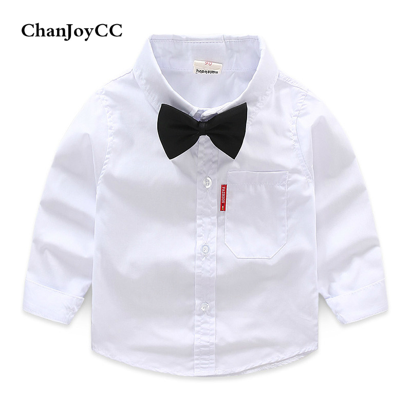 Children Boys Bowtie Shirt Spring Autumn New Fashion Clothing Kids Solid Cartoon Long Sleeve Turn-down Collar Shirt Hot Sale new hot sale 2016 korean style boy autumn and spring baby boy short sleeve t shirt children fashion tees t shirt ages