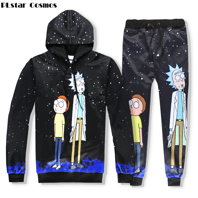PLstar Cosmos 2017 new Fashion 3d hooded sweatshirt Cartoon Rick and Morty printed Hip Hop Unisex Hoodies+joggers pants Sets