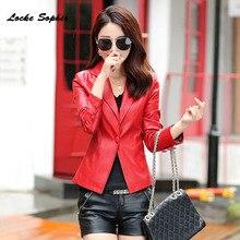 Womens Plus size short jacket blazers 2019 Autumn faux fur Pu Leather Single button suit Jacket ladies Skinny locomotive blazer