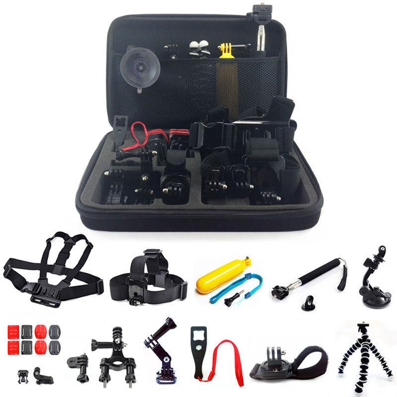 Gopro Accessories set for go pro hero 5 4 3 kit mount for for SJCAM SJ4000 / xiaomi yi camera / eken h9 tripod for go pro cnc aluminum alloy tripod mount base tripod adapter for gopro hero 5 4 3 3 2 1 sj4000 for xiaomi yi sports camera