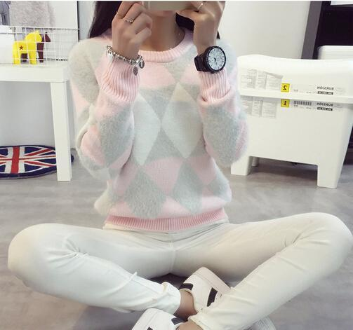 Brand Woman Sweater Pullover 2016 Autumn Winter Fashion O-Neck Argyle Candy Pullovers Pull Femme Sweter Mujer
