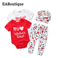 EABoutique Fashion baby girl clothes set my first valentine's day letter pattern short sleeve romper with legging headband