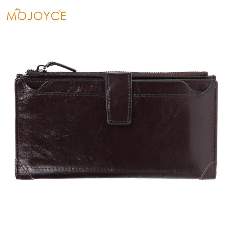 The 2018 New First Layer Of Oil Wax Leather Mens Retro High-Capacity Multi-Card Bit Long Wallet Clutch Card Men Holder Clutch