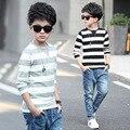 5 6 7 8 9 10 11 12 13 14 15 anos de menino t camisas Para A Primavera Crianças Meninos Camiseta Primavera Listrado Casuais Camisa de Manga Longa Menino