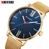 Curren Mens Watches Top Brand Luxury Gold Quartz Men Watch Drop Shipping Mesh Strap Casual Sport