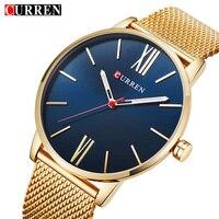 Curren Mens Watches Top Brand Luxury Gold Quartz Men Watch Drop Shipping Mesh Strap Casual Sport