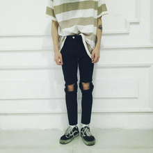 American street hole knife baggy jeans GD right Zhilong Korean men and women slim Leg Pants Slacks