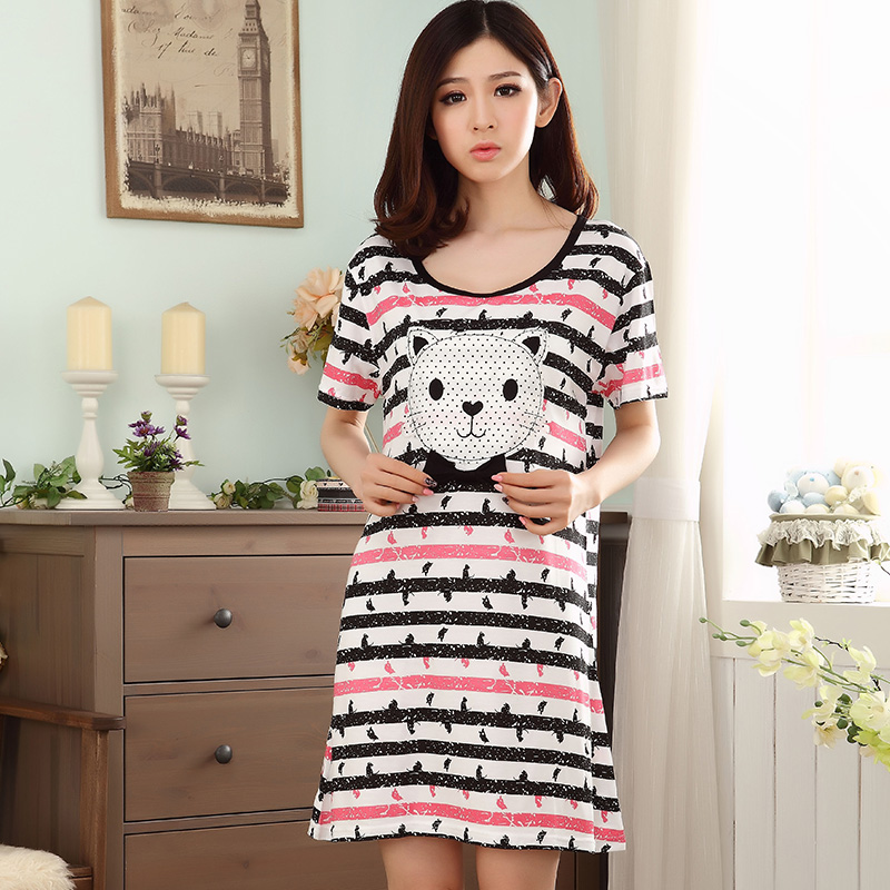 Summer Cotton Striped Night Dress Women's   Nightgowns  &  Sleepshirts   Cartoon Nightdress Sleepwear Pyjamas Women Lounge Home Clothing