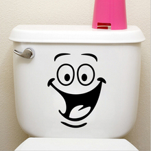 Smile face Toilet stickers diy personalized furniture decoration wall decals fridge washing machine sticker Bathroom Car Gift 1p