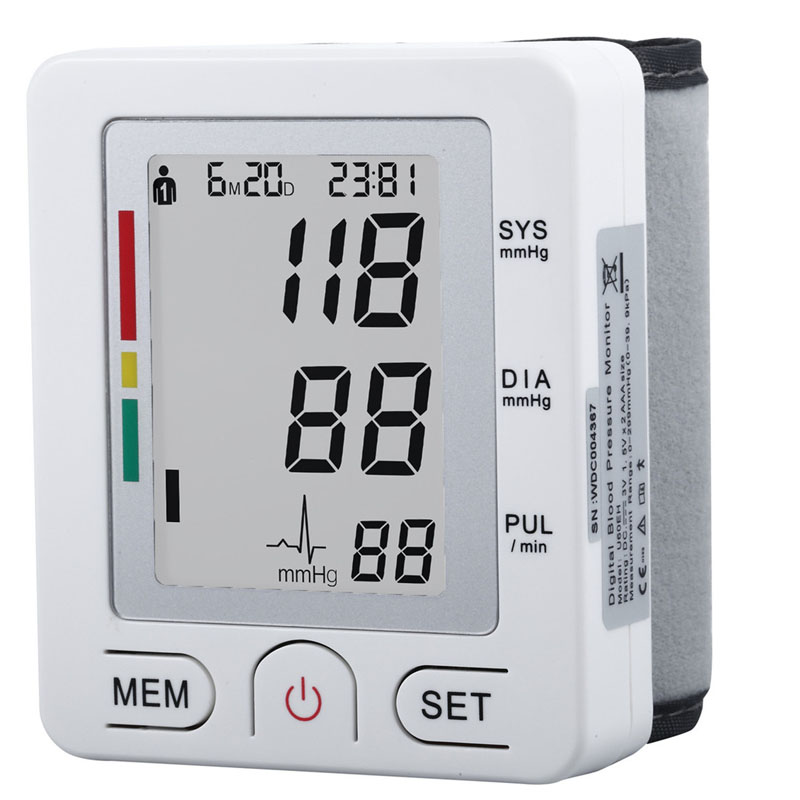 Health Care Fully Automatic Wrist Style Digital Blood Pressure Monitor Tonometer glucose Meter device for Measuring Pulse Rate