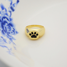 Real Picture 18K Gold Dog Paw Print Signet Ring Brass Knuckles Ring Men Jewelry Anillos Boho Chic Rings For Women Anel Best Gift