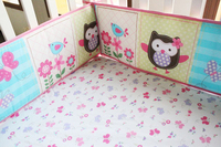 5pcs Embroidery Baby Bedding Set Cotton Baby bed cover Baby Crib Set For Both Girl Boy Baby Cot Bed,include (4bumper+bed cover)