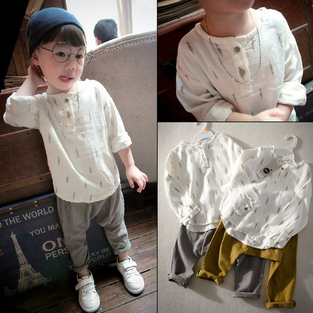 New 2017 Kids Boys Clothes Set Casual Children's set Soft Linen Baby Boy Autumn Set Print Tops and Harem Pants Kids Set