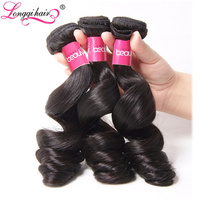 LONGQI HAIR Loose Wave Brazilian Hair Bundles Natural Color Soft And Thick Remy Human Hair Weave
