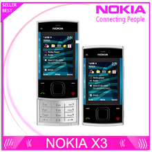 x3 Original Nokia X3 Mobile Cell Phone Bluetooth 3.2MP MP3 Player X3-00 Slider Cellphone Unlocked & One year warranty