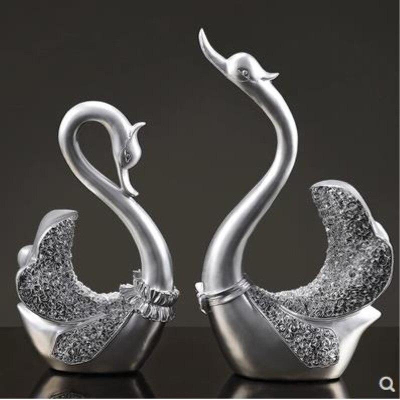 Decoraciones para el hogar, adornos de artesanía de cisne, símbolos de amor, el mejor regalo para boda-in Figuras y miniaturas from Hogar y Mascotas    1