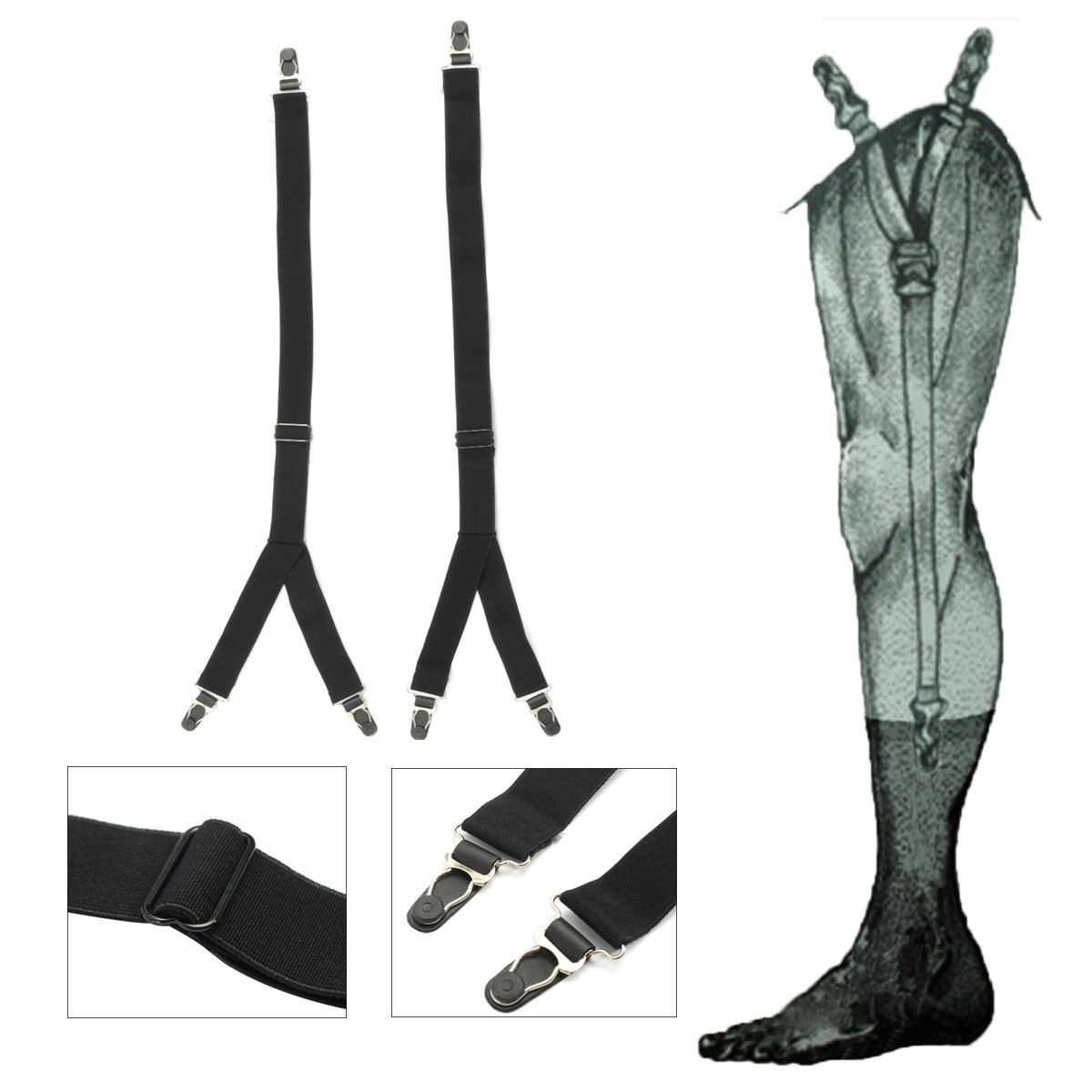 2aaff2a31b0 1 Pair Y Shape Socks Shirt Suspenders Stays Holder For Male