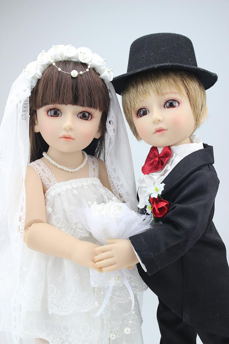 Manual Cloth Beige Bride And Black White Tuxedo Bridegroom Doll Decoration Of Wedding Car House Toy Souvenir Gift In Dolls From Toys Hobbies