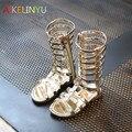 Crianças menina sandálias Verão 2017 Novas Crianças sapatos meninas sandálias Romanas oco tecido Gaotong open-toed sandálias legais botas prata